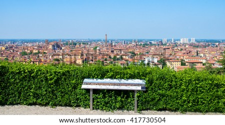 Bologna tour aerial view sightseeing emilia romagna - stock photo