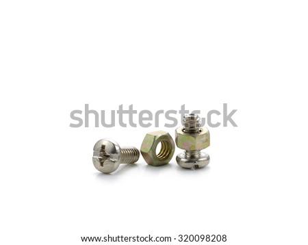 bolt and nut isolated on white background - stock photo