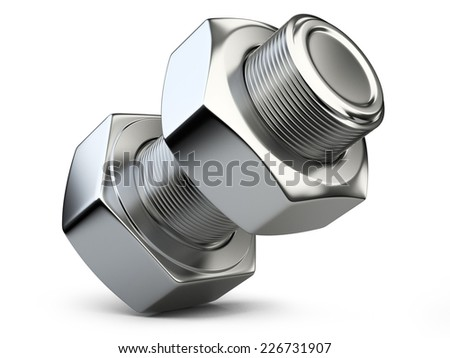 bolt and nut isolated on white background. 3d illustration
