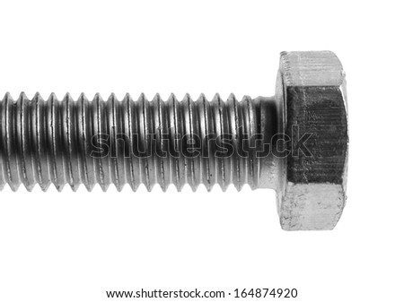 bolt isolated on white, close up  - stock photo