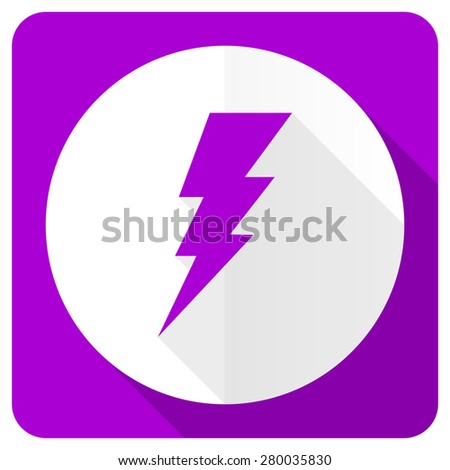 bolt pink flat icon flash sign  - stock photo