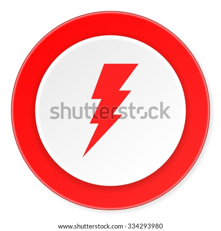 bolt red circle 3d modern design flat icon on white background  - stock photo