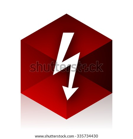 bolt red cube 3d modern design icon on white background  - stock photo