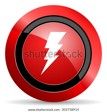 bolt red glossy web icon  - stock photo