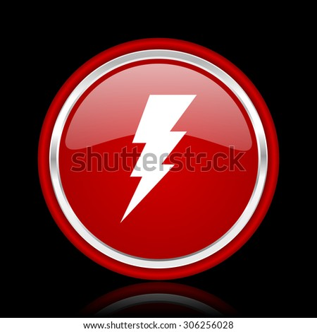 bolt red glossy web icon chrome design on black background with reflection  - stock photo