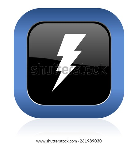 bolt square glossy icon flash sign  - stock photo