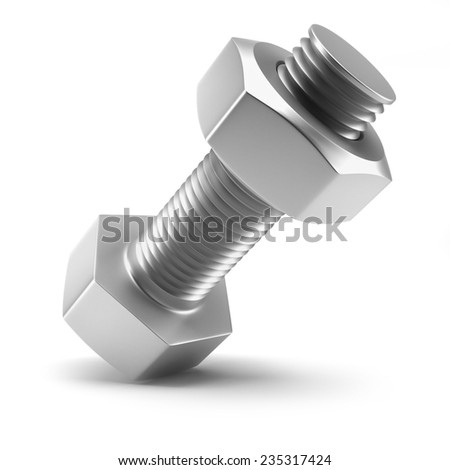 Bolted joint isolated on white background 3d