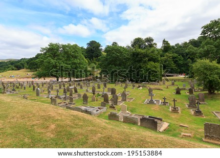 Bolton Abbey Graveyard in North Yorkshire, England - stock photo