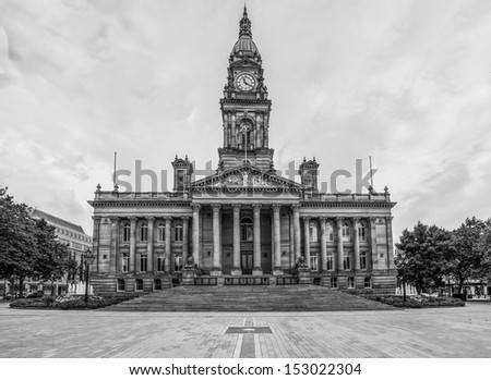 Bolton town hall in black and white, High resolution 100MPixel - stock photo