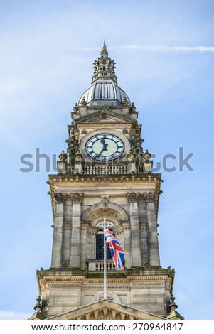 Bolton Town Hall with union jack flying