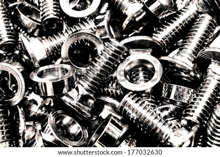 Bolts and nuts. Black and white, high contrast processed. Urban industrial abstract concept - stock photo