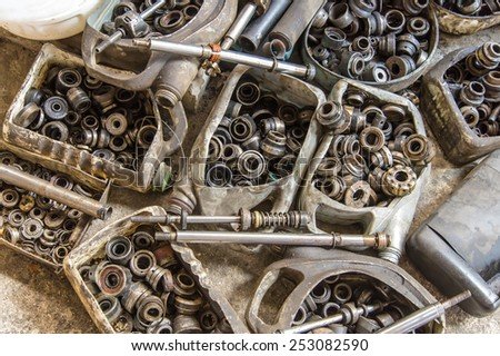bolts and nuts spare part for repair card at service station. - stock photo