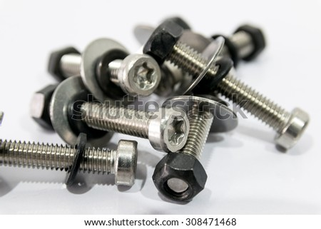 Bolts and nuts. very important for mounting components. - stock photo