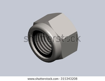 Bolts in 3D drawing. - stock photo