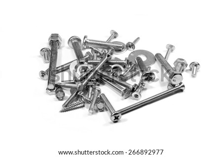 Bolts, nuts , washers isolated