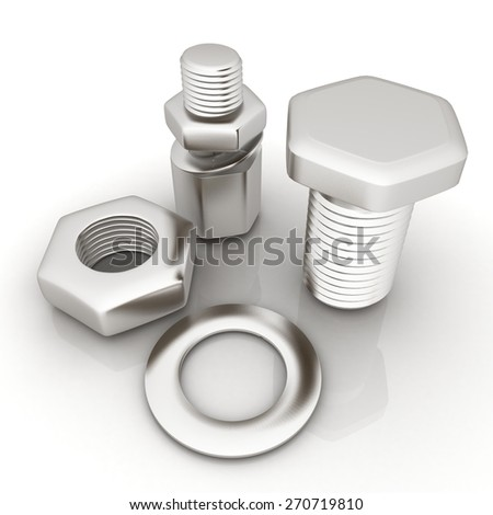 bolts with a nuts and washers - stock photo