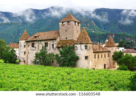 BOLZANO, ITALY-JUNE 30: Maretsch Castle. The oldest part of Maretsch Castle the was built around 1194. Maretsch Castle is now used for conferences and cultural activities; June 30, 2012 Bolzano, Italy - stock photo