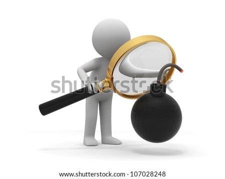 Bomb/Crisis/a people is looking at the bomb with a magnifier - stock photo
