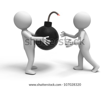 Bomb/Crisis/a people passed a shopping bag to the other. - stock photo