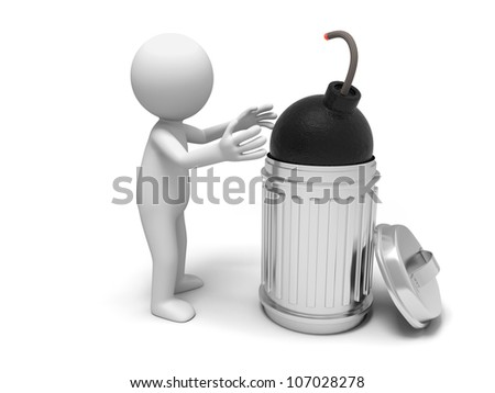 Bomb/Crisis/bomb and trash can - stock photo