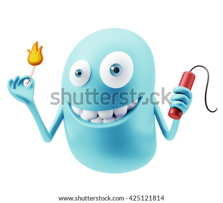Bomb Emoji Cartoon. 3d Rendering. - stock photo