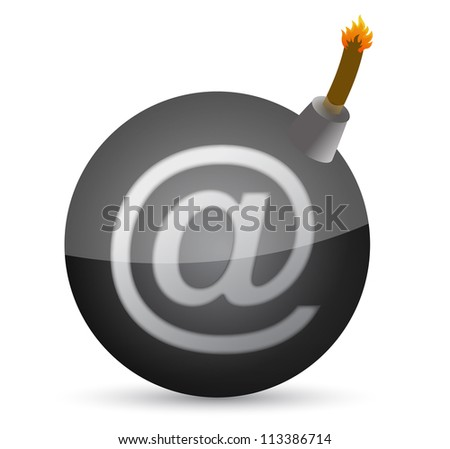 bomb with at-symbol illustration design over white - stock photo