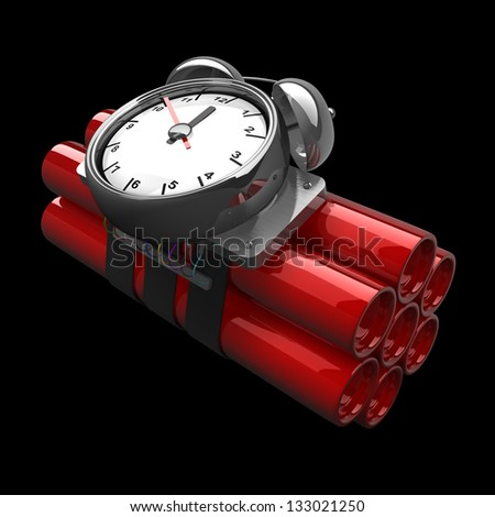 Bomb with clock timer isolated on black background High resolution. 3D image