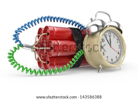 Bomb with clock timer isolated on white background High resolution