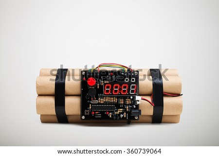 bomb with timer isolated on white background - stock photo