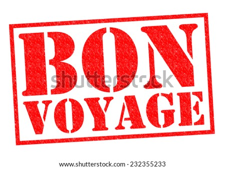 BON VOYAGE red Rubber Stamp over a white background.