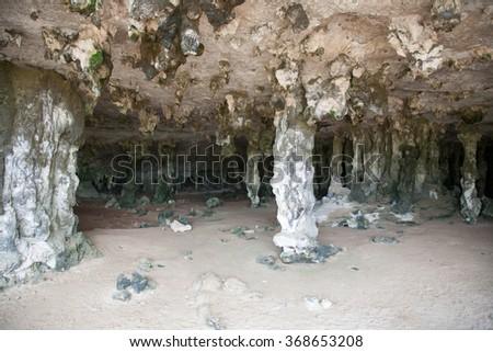 Bonaire island cave - stock photo