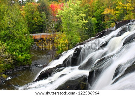Bond Falls is a spectacular waterfall on the Ontonagon River in northern Michigan - stock photo