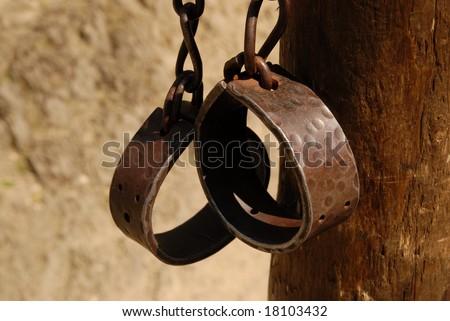 bond, slave, captive, captured, metal, prison, jail, torture, pain, middle ages, crime, handcuff - stock photo