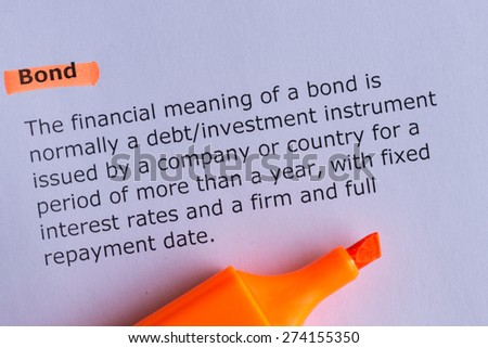 bond word highlighted on the white paper