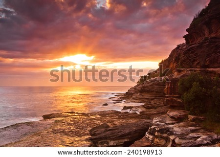 Bondi Beach  sunrise over ocean