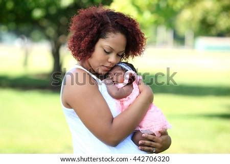 Bonding with newborn - stock photo