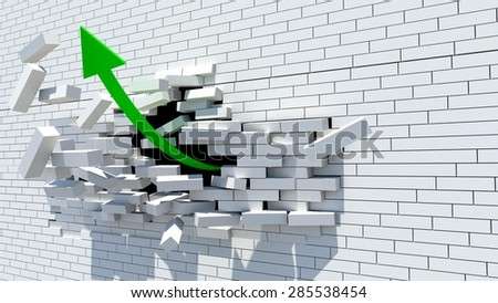 bonds, green arrow break wall - stock photo