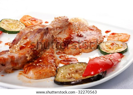 Bone beef platter. Teppan-yaki dish - stock photo