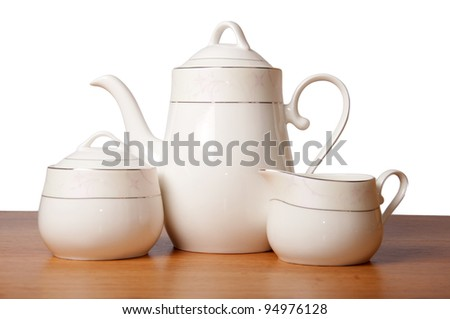 Bone china tea set isolated - stock photo
