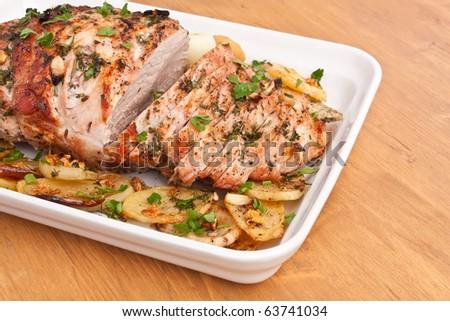 Boneless Pork Loin Roast with Herbed Pepper Rub - stock photo
