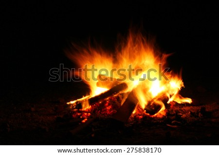 bonfire for warm in night while clamping - stock photo