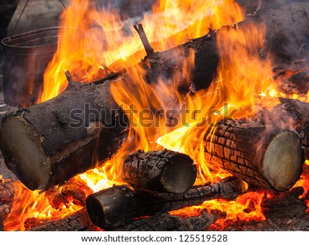 Bonfire with metal black kettle on it - stock photo
