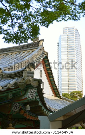 Bongeunsa Temple in the Gangnam District of Seoul, Korea  - stock photo