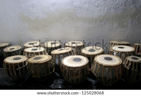 Bongo drums in the market - stock photo