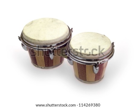 Bongo drums isolated against a white background - stock photo