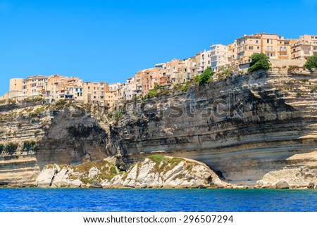 Bonifacio old town built on top of a cliff, Corsica island, France - stock photo