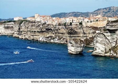 Bonifacio old town on sea cliff, Corsica, France - stock photo
