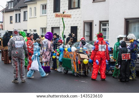 BONN - FEBRUARY 9: Traditional carnival in Bonn, Germany on February 9, 2013. Modern carnival in Rhineland began in 1823.