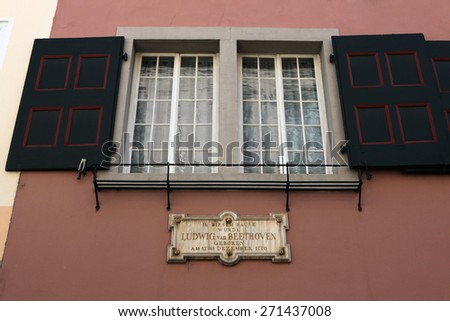 BONN, GERMANY - AUGUST 15, 2012: Commemorative plaque at the Beethoven House where Ludwig van Beethoven was born in 1770 in Bonn, North Rhine-Westphalia, Germany.  - stock photo