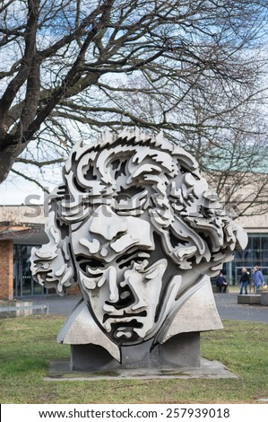 """BONN, GERMANY - FEBRUARY 25: Beethoven Monument 'Beethon"""" on March 02, 2013 in Bonn, Germany. Sculpture created by Klaus Kammerichs in 1986 has become one of the major landmarks of Bonn. - stock photo"""